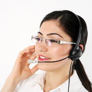 Happy call center agent symbol used in online marketing for Secretaria oficina virtual